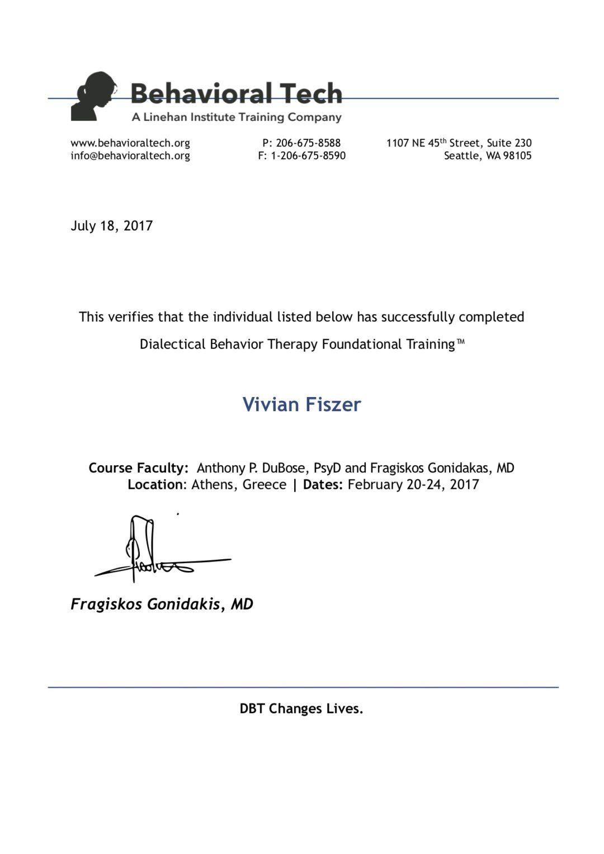 Vivian, Certyfikat b-tech Zaawansowane DBT poziom 3, Grecja, egzamin